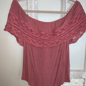 Off the Shoulder Dusty Rose Top!
